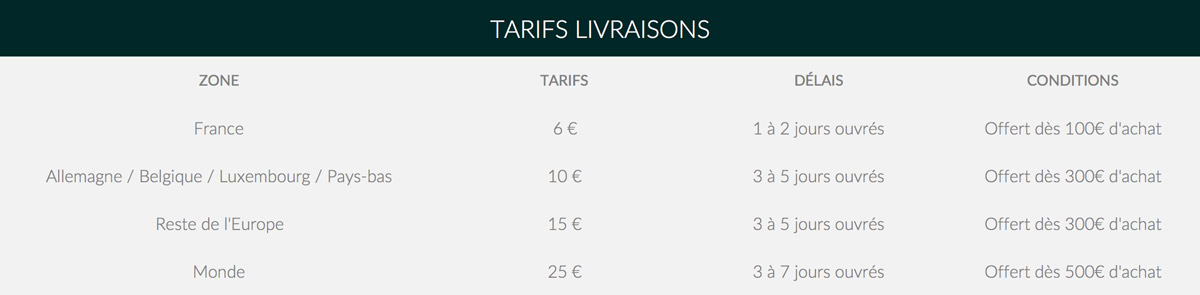 Tarifs livraison
